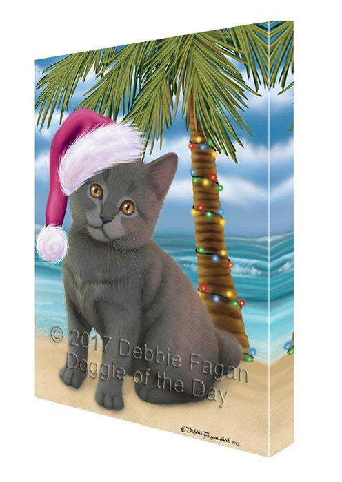 Christmas Happy Holidays Summer Time Chartreux Kitten Beach Print on Canvas Wall Art CVS1494