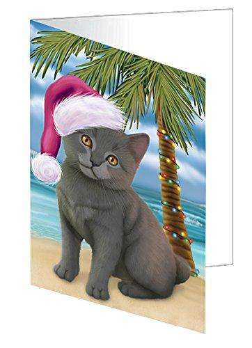 Christmas Happy Holidays Summer Time Chartreux Kitten on Beach Greeting Card GCD1990