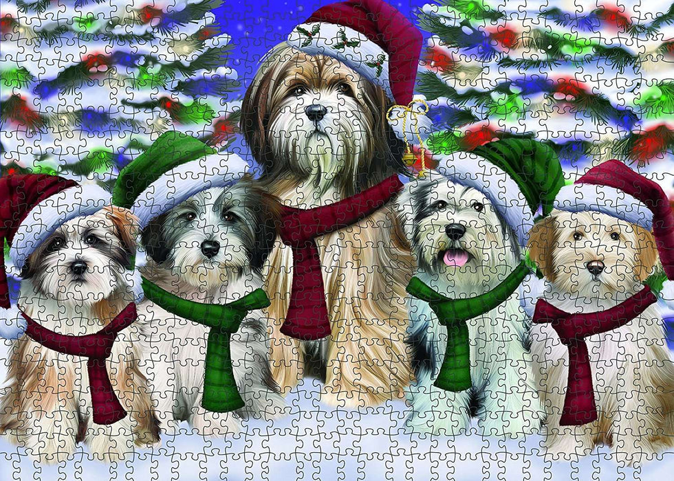 Christmas Happy Holidays Tibetan Terrier Dog Family Portrait Puzzle with Photo Tin PUZL027