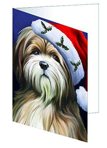Christmas Happy Holidays Tibetan Terrier Dog Wearing Santa Hat Portrait Head Greeting Card GCD1690