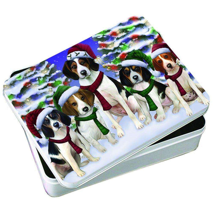 Christmas Happy Holidays Treeing Walker Coonhound Dogs Family Portrait Photo Storage Tin PTIN0022