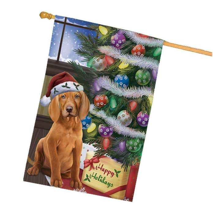 Christmas Happy Holidays Vizsla Dog with Tree and Presents House Flag