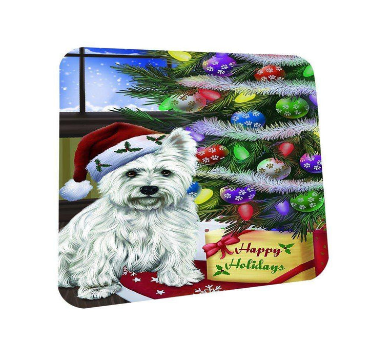 Christmas Happy Holidays West Highland Terriers Dog with Tree and Presents Coasters Set of 4