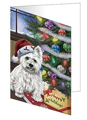Christmas Happy Holidays West Highland Terriers Dog with Tree and Presents Greeting Card