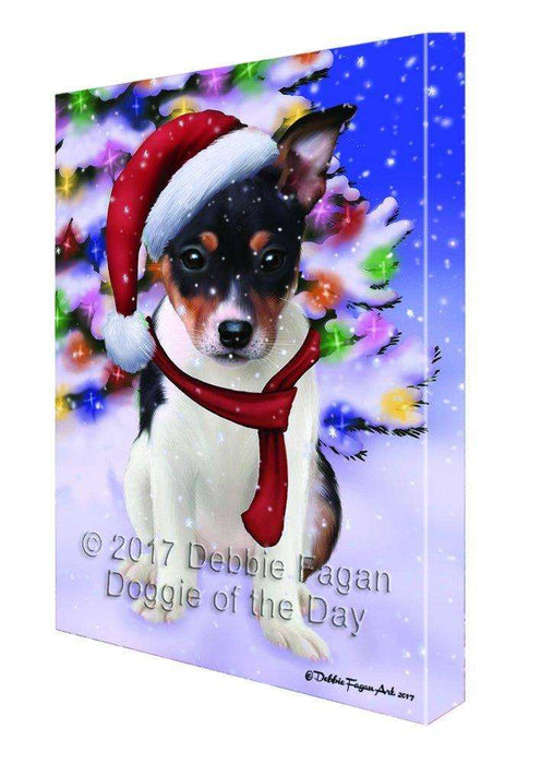 Christmas Happy Holidays Winter Wonderland Rat Terrier Ind Puppy Print on Canvas Wall Art CVS1836