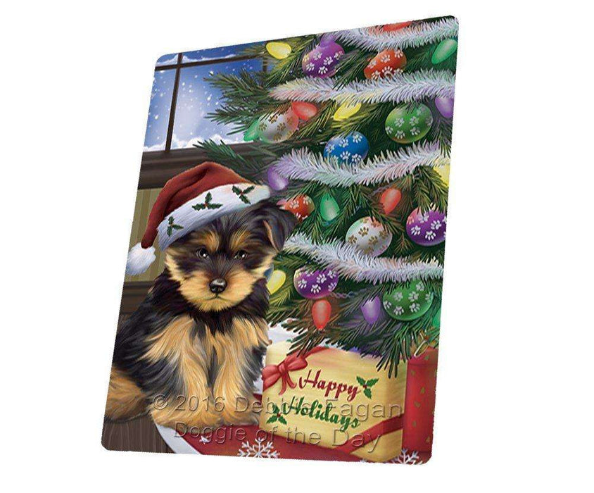 Christmas Happy Holidays Yorkshire Terriers Dog with Tree and Presents Art Portrait Print Woven Throw Sherpa Plush Fleece Blanket