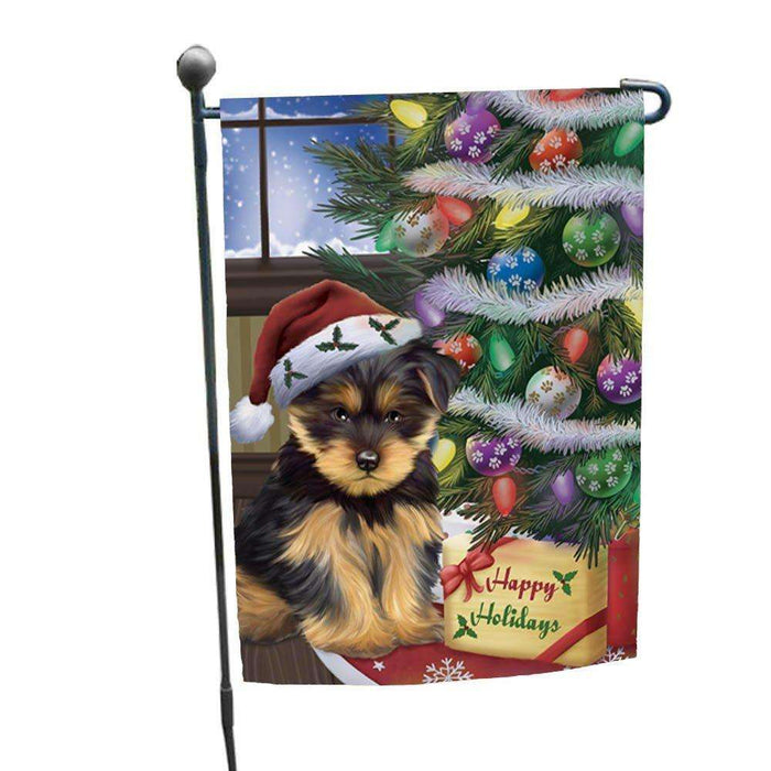 Christmas Happy Holidays Yorkshire Terriers Dog with Tree and Presents Garden Flag