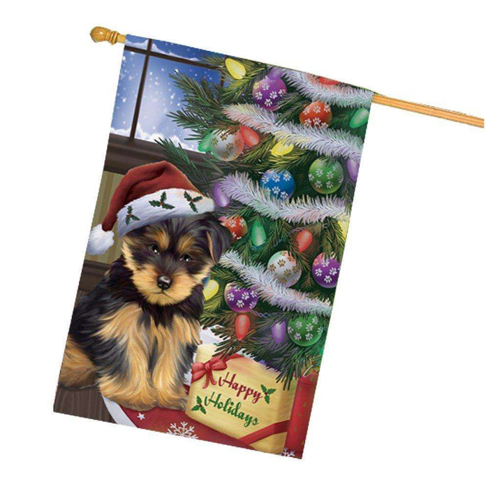 Christmas Happy Holidays Yorkshire Terriers Dog with Tree and Presents House Flag