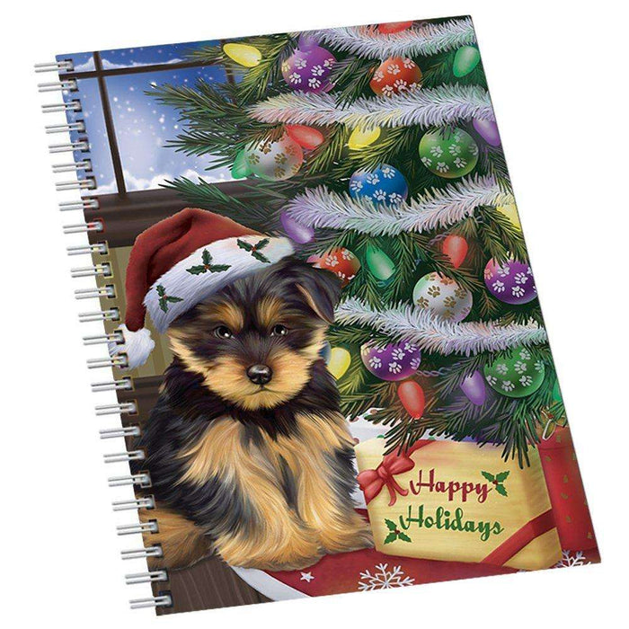 Christmas Happy Holidays Yorkshire Terriers Dog with Tree and Presents Notebook