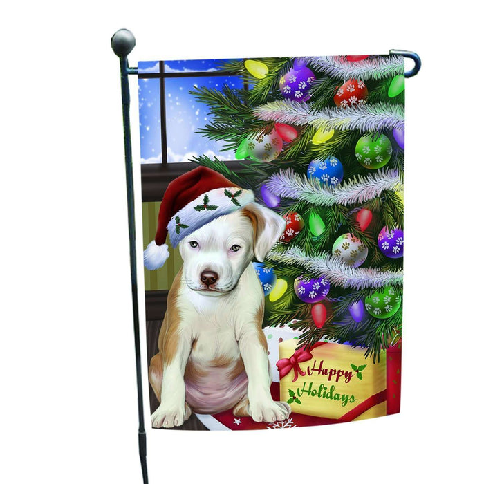 Christmas Holiday Pit Bull Dog Wearing Santa Hat with Tree and Presents Garden Flag FLG001