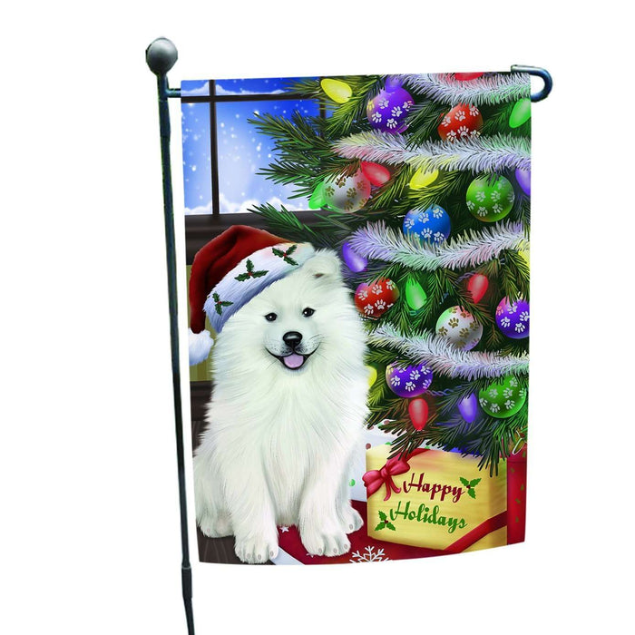 Christmas Holiday Samoyed Dog Wearing Santa Hat with Tree and Presents Garden Flag FLG003