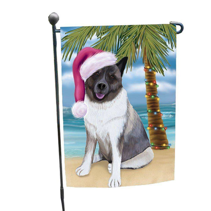 Christmas Holiday Summer Time Akita Dog on Beach Wearing Santa Hat Garden Flag FLG145