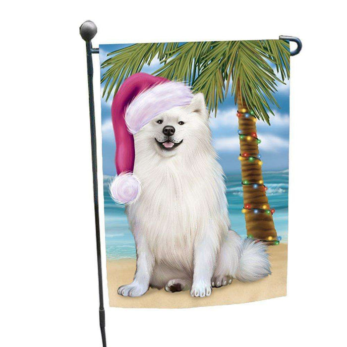 Christmas Holiday Summer Time American Eskimo Adult Dog on Beach Wearing Santa Hat Garden Flag FLG149