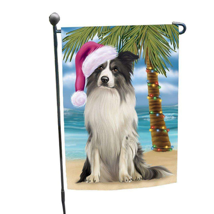 Christmas Holiday Summer Time Border Collie Dog on Beach Wearing Santa Hat Garden Flag FLG168