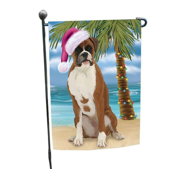 Christmas Holiday Summer Time Boxer Dog on Beach Wearing Santa Hat Garden Flag FLG169