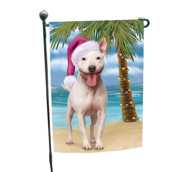 Christmas Holiday Summer Time Bull Terrier Dog on Beach Wearing Santa Hat Garden Flag FLG173