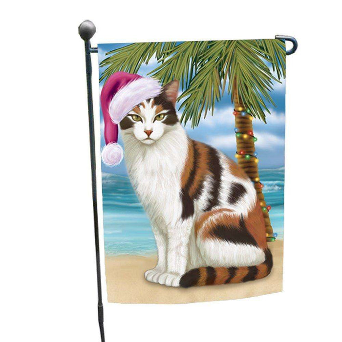 Christmas Holiday Summer Time Calico Cat on Beach Wearing Santa Hat Garden Flag FLG174