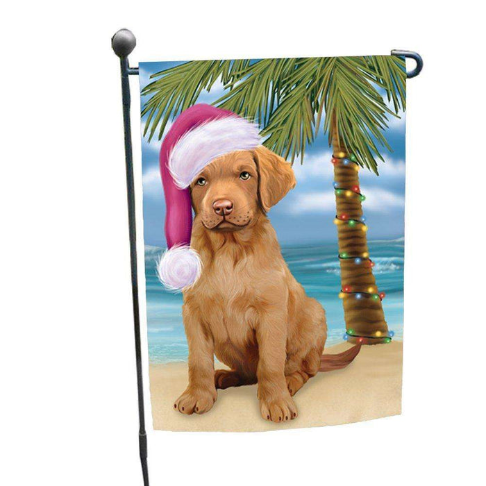Christmas Holiday Summer Time Chesapeake Bay Retriever Puppy on Beach Wearing Santa Hat Garden Flag FLG159
