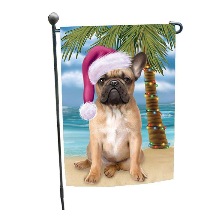 Christmas Holiday Summer Time French Bulldog on Beach Wearing Santa Hat Garden Flag FLG182
