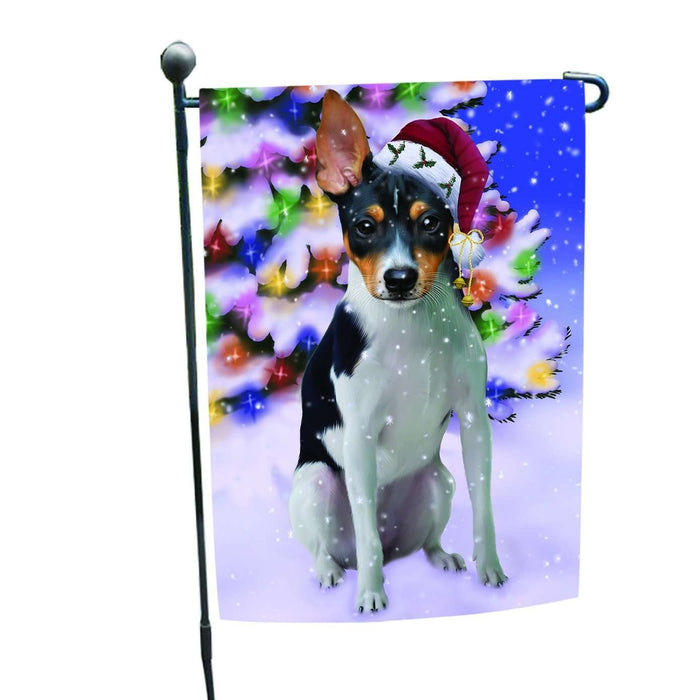 Christmas Holiday Winter Wonderland Rat Terrier Adult Dog Wearing Santa Hat Garden Flag FLG137