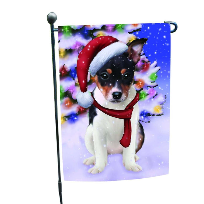 Christmas Holiday Winter Wonderland Rat Terrier Puppy Wearing Santa Hat Garden Flag FLG138