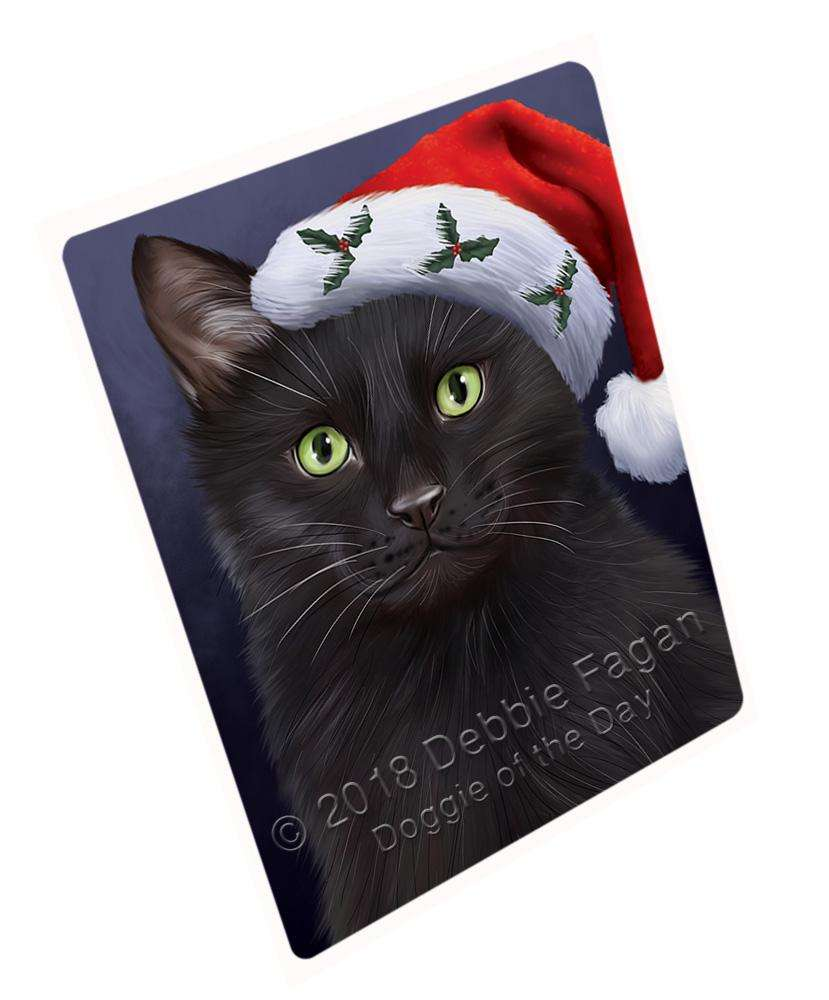 Christmas Holidays Black Cat Wearing Santa Hat Portrait Head Blanket BLNKT98769