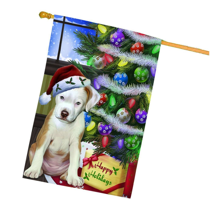Christmas Holidays Pit Bull Dog Wearing Santa Hat with Tree and Presents House Flag HFLG001