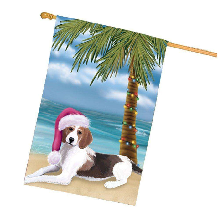 Christmas Holidays Summer Time American Foxhound Dog on Beach Wearing Santa Hat House Flag FLG150