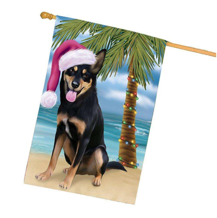 Christmas Holidays Summer Time Australian Kelpie Adult Dog on Beach Wearing Santa Hat House Flag FLG151