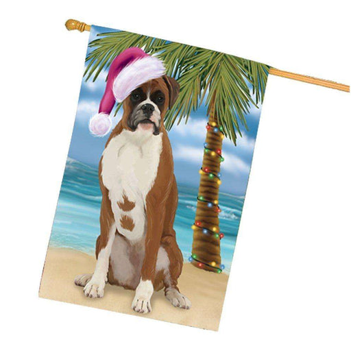 Christmas Holidays Summer Time Boxer Dog on Beach Wearing Santa Hat House Flag FLG168