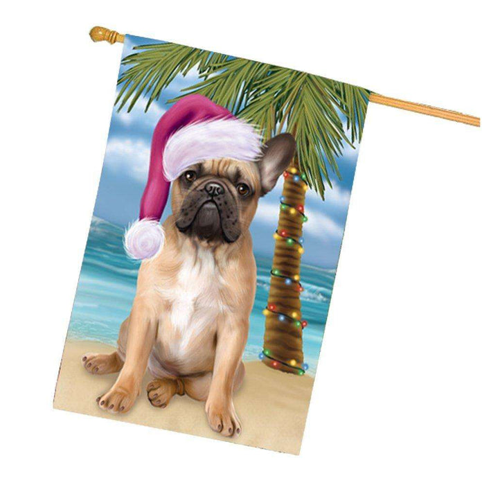 Christmas Holidays Summer Time French Bulldog on Beach Wearing Santa Hat House Flag FLG181