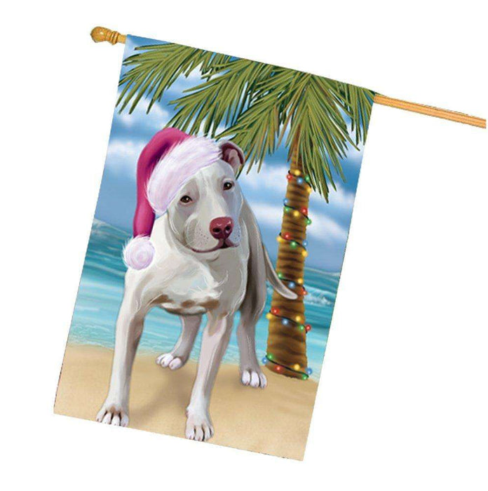 Christmas Holidays Summer Time Pit Bull Dog on Beach Wearing Santa Hat House Flag FLG194