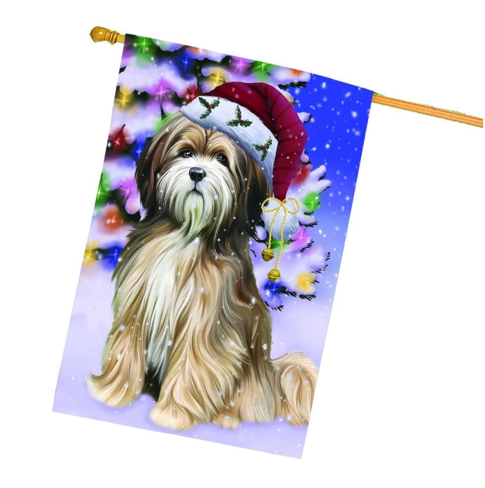 Christmas Holidays Winter Wonderland Tibetan Terrier Adult Dog Wearing Santa Hat House Flag FLG117