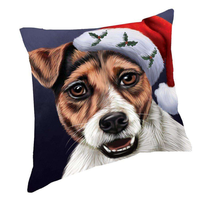 Christmas Jack Russel Dog Holiday Portrait with Santa Hat Throw Pillow