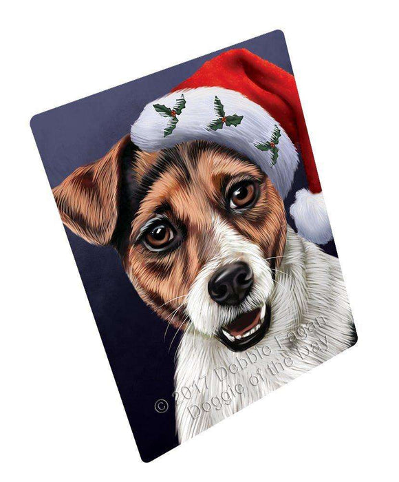 Christmas Jack Russell Dog Holiday Portrait with Santa Hat Art Portrait Print Woven Throw Sherpa Plush Fleece Blanket