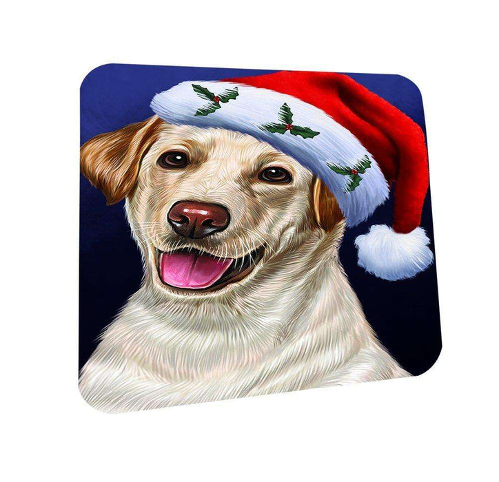 Christmas Labradores Dog Holiday Portrait with Santa Hat Coasters Set of 4