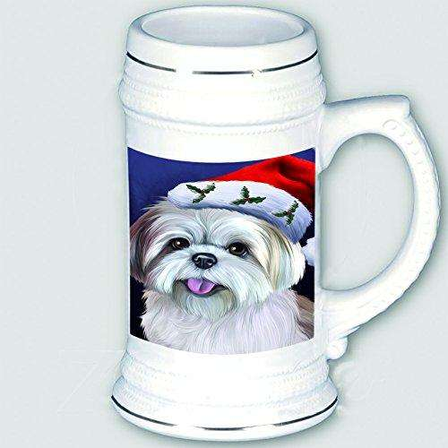 Christmas Lhasa Apso Dog Holiday Portrait with Santa Hat Beer Stein