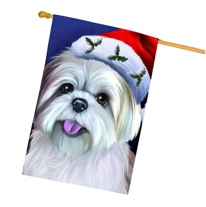 Christmas Lhasa Apso Dog Holiday Portrait with Santa Hat House Flag