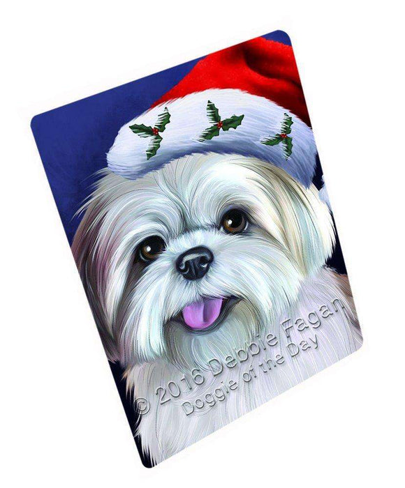 a48c4c85a3bc4 Christmas Lhasa Apso Dog Holiday Portrait with Santa Hat Large Refrige —  Doggie of the Day