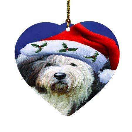 Christmas Old English Sheepdog Dog Holiday Portrait with Santa Hat Heart Ornament D001