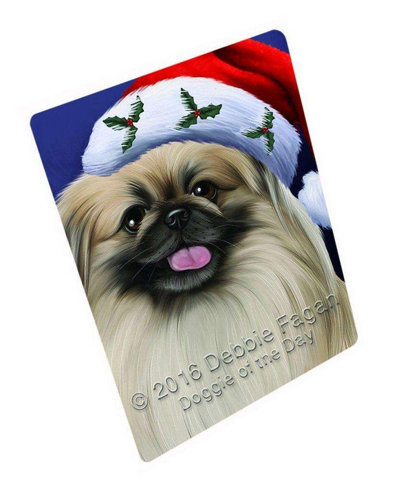 "Christmas Pekingese Dog Holiday Portrait With Santa Hat Magnet Mini (3.5"" x 2"")"