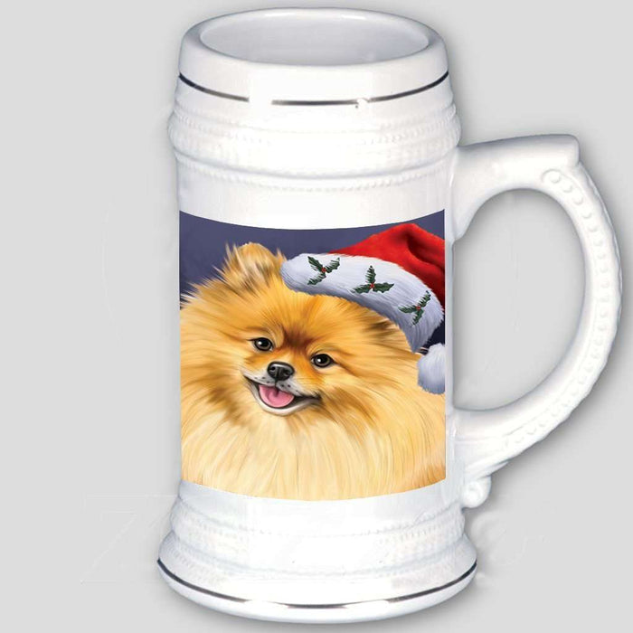 Christmas Pomeranians Dog Holiday Portrait with Santa Hat Beer Stein