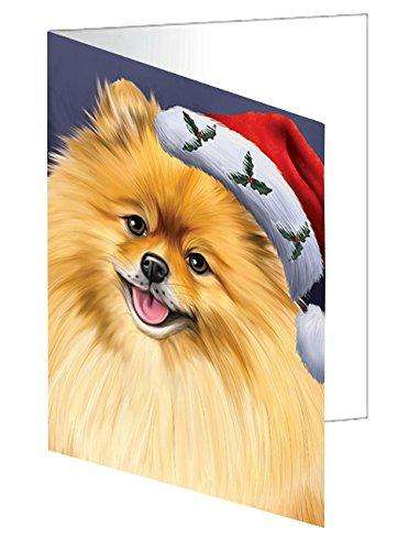 Christmas Pomeranians Dog Holiday Portrait with Santa Hat Greeting Card