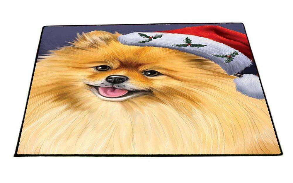 Christmas Pomeranians Dog Holiday Portrait with Santa Hat Indoor/Outdoor Floormat