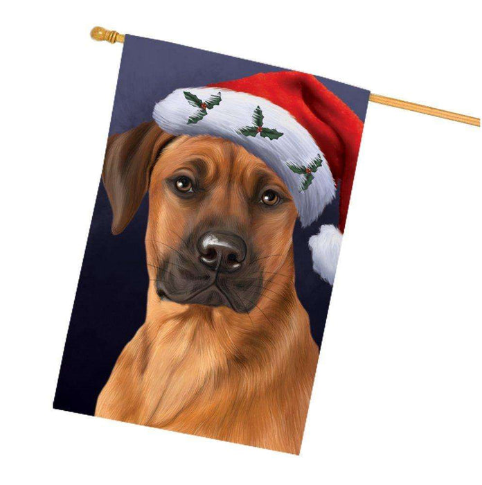 Christmas Rhodesian Ridgebacks Dog Holiday Portrait with Santa Hat House Flag