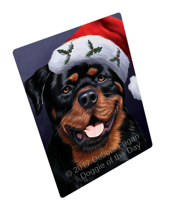 Christmas Rottweiler Dog Holiday Portrait with Santa Hat Art Portrait Print Woven Throw Sherpa Plush Fleece Blanket
