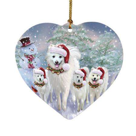 Christmas Running Family Dogs American Eskimos Dog Heart Christmas Ornament HPOR54217