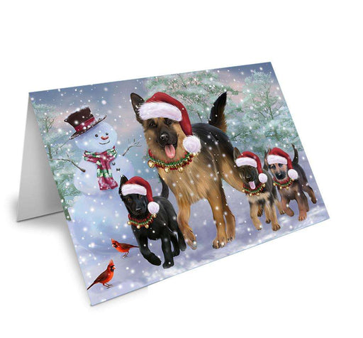 Christmas Running Family Dogs German Shepherds Dog Greeting Card GCD66695