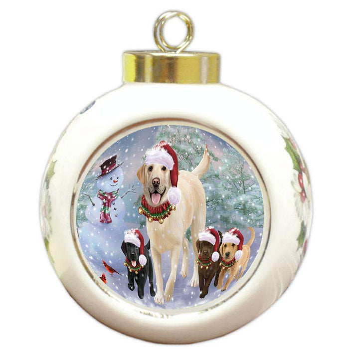 Christmas Running Family Dogs Labrador Retrievers Dog Round Ball Christmas Ornament RBPOR54224