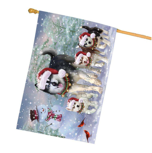 Christmas Running Family Dogs Siberian Huskies Dog House Flag FLG54425